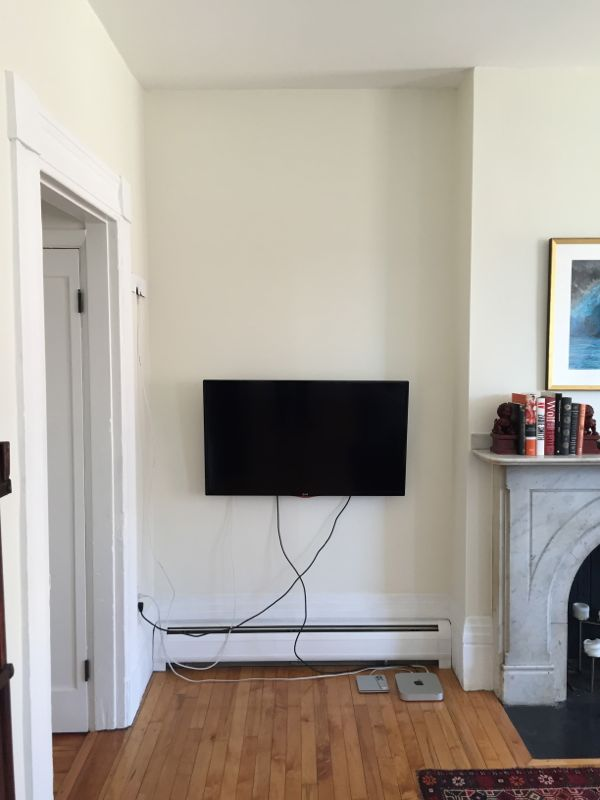 So We Hung The Tv In Corner Which As You Can See Left Us With A Mess Of Cables Running Down Wall There Are Various Cord Managers That Be